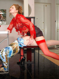 Sissy guy getting under anal onslaught of strap-on armed gal right at work pictures at kilomatures.com
