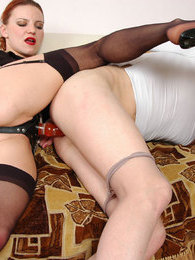 Eager guy dominated and ass-fucked by sex-crazy chick armed with strap-on pictures at find-best-panties.com