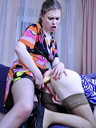 Whoring sissy lets his girlfriend finger fuck and strapon drill his bottom pictures at lingerie-mania.com