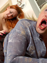 Strap-on armed chick hikes up a sissy guy's skirt giving him new sensations pictures