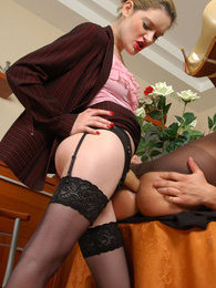 Horny sissy guy can't resist strap-on attack in wild ass-screwing on table pictures at find-best-panties.com