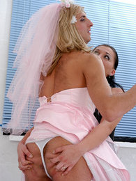Sizzling hot sissy guy in wedding dress getting under harsh strap-on attack pictures at freekilomovies.com