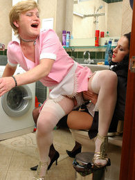 Freaky French maid sissy guy prefers strap-on fucking to his daily chores pictures at kilogirls.com