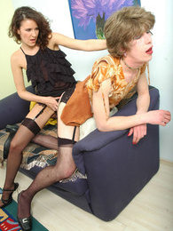 A meeting with strap-on armed gal ends with huge bonus up sissy guy's ass pictures at lingerie-mania.com