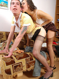 Sexy gal with strap-on turning chap into her maid and fucking him like hell pictures