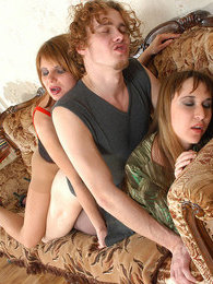 Naughty chicks in smooth pantyhose getting into mood for group sex on sofa pictures at freekilomovies.com
