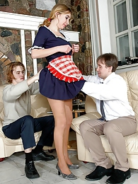 Curvy French maid in tan tights ready to do all her fucking chores in 3some pictures at lingerie-mania.com