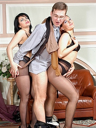 Vivacious babes in black pantyhose giving great legjob and blowjob in 3some pictures at kilogirls.com