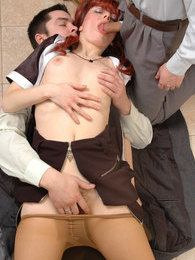 Spicy babe in flesh-colored pantyhose and her coworkers savoring cock-break pictures at freekilosex.com