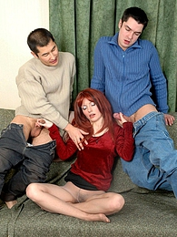 Redhead getting to group nylon sex with two guys in incredible positions pictures at kilogirls.com