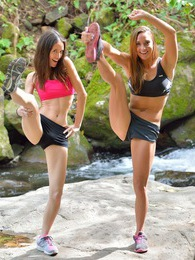 Mary and Aubrey Hiking the Lao Valley pictures at find-best-babes.com
