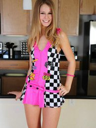 Aston is all cheers as she strips off her pink racing outfit pictures at kilosex.com