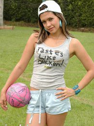 Pamela plays a naughty game of soccer pictures