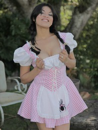 Natalia Spice starts all dressed up as miss muffin but ends up fully naked pictures at kilosex.com