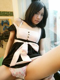 Mio sexy Japanese teen is a maid who also enjoys modeling for fun pictures