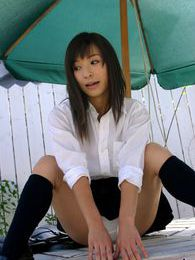 Japanese college tramp gets naked in the boys locker room for a surprise treat pictures at lingerie-mania.com