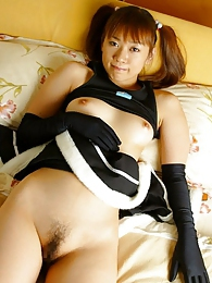 Costumed Japanese slut enjoys being a cockteasing little brat for her boyfriends pictures at freekilosex.com