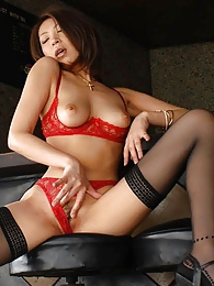 Lovely Japanese lingerie model shows her firm tits and inviting pussy pictures at freekilosex.com