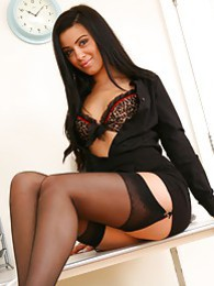 Natalia looking glorious in black miniskirt and top with leopard underwear beneath pictures at find-best-panties.com