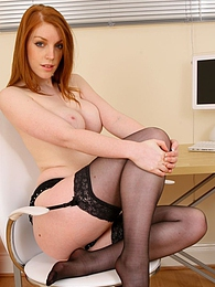 Beautiful secretary in black office suit and silk blouse pictures at lingerie-mania.com