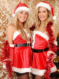 Elle Richie Daisy Watts Rosie W Hayley Marie Lucy Anne India Reynolds tease their way from sexy Santa outfits pictures at lingerie-mania.com