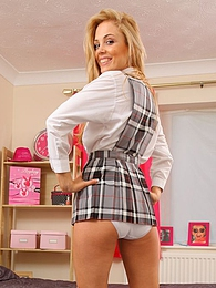 Skinny blonde was sent home from school because of flashing her white panties pictures at dailyadult.info