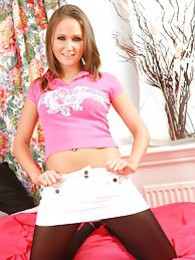 Delightful blonde Crystal in cute casual wear and dark opaque tights pictures at kilosex.com