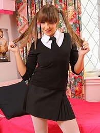 Cate shows off her gorgeous curves and bares all when she strips out of her college uniform pictures at kilotop.com