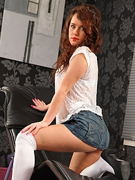 Cute Marissa tease her way from denim miniskirt and white blouse pictures at freekilosex.com