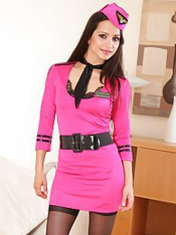 Stunning Chelsea in pink airline outfit pictures at freekiloporn.com
