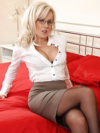 Sexy Syren in black stockings and office dress pictures at lingerie-mania.com