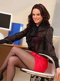 Brunette Secretary pictures at lingerie-mania.com