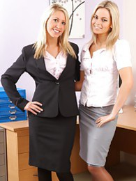This blonde duo look stunning as they strip each other out of ther office wear pictures at lingerie-mania.com