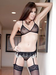 Leggy Maria E in black mini skirt and suspenders pictures