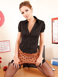 Eufrat strips in the office pictures at lingerie-mania.com