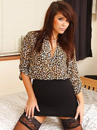Laura P in leopardprint silk & black skirt pictures at lingerie-mania.com
