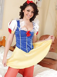 The gorgeous Bryoni-Kate in her snow white outfit with red pantyhose pictures at adipics.com