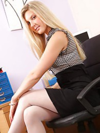 Saucy blonde secretary teases her way out of her tight minidress and white ingerie pictures