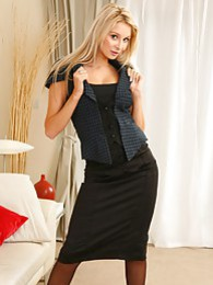 Beautiful Stevie wearing tight top and satin skirt pictures
