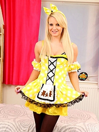 Naomi in yellow fancy dress pictures at find-best-lingerie.com