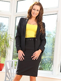 Smart secretary gets naughty and removes her black business suit pictures at freekilomovies.com