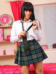 Gorgeous college girl in tartan miniskirt and white blouse pictures at kilovideos.com