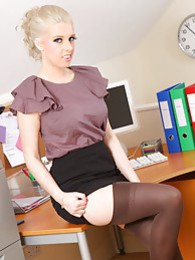 Holly M knows how to please her boss and strips out of her tight outfit pics