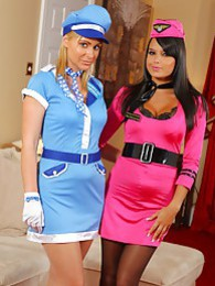 Bebe and Jenna J look stunning in their air hostess outfits pictures at kilopics.com