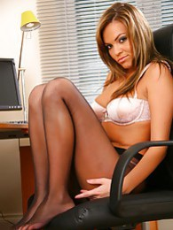 Lovely Kim B wearing tiny dress and black pantyhose pictures at find-best-babes.com