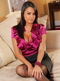 Bebe in a silk blouse and tight black pencil skirt pictures at lingerie-mania.com
