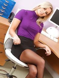 Prudence looks stunning in black mini skirt and purple top pictures at find-best-panties.com