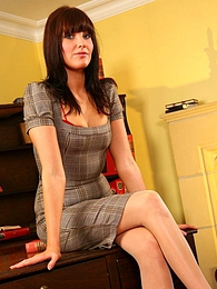 A tight dress bright red high heels and racy red lingerie make Chloe J the perfect secretary pics