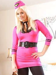 Amazing air hostess Amy takes off her skimpy uniform pictures at find-best-panties.com