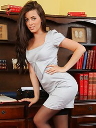 Natalia knows exactly how to impress her boss and brightens his day with a sexy striptease pictures at kilopics.net
